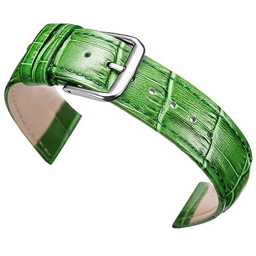 18mm echtem Kalbsleder grün Leder Uhr Krokodil Band Riemen Ersatz der Frauen geprägt