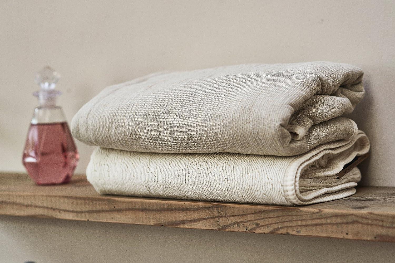 Toalla de baño (lino, Bio bambú y algodón Esponja una Face Ecru una cara perla 50 x 100 cm SOREMA: Amazon.es: Hogar