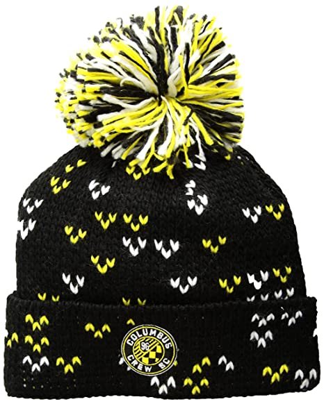 ec90464d25d Image Unavailable. Image not available for. Color  adidas MLS Columbus Crew  Women s Fan Wear Cuffed Pom Knit Beanie