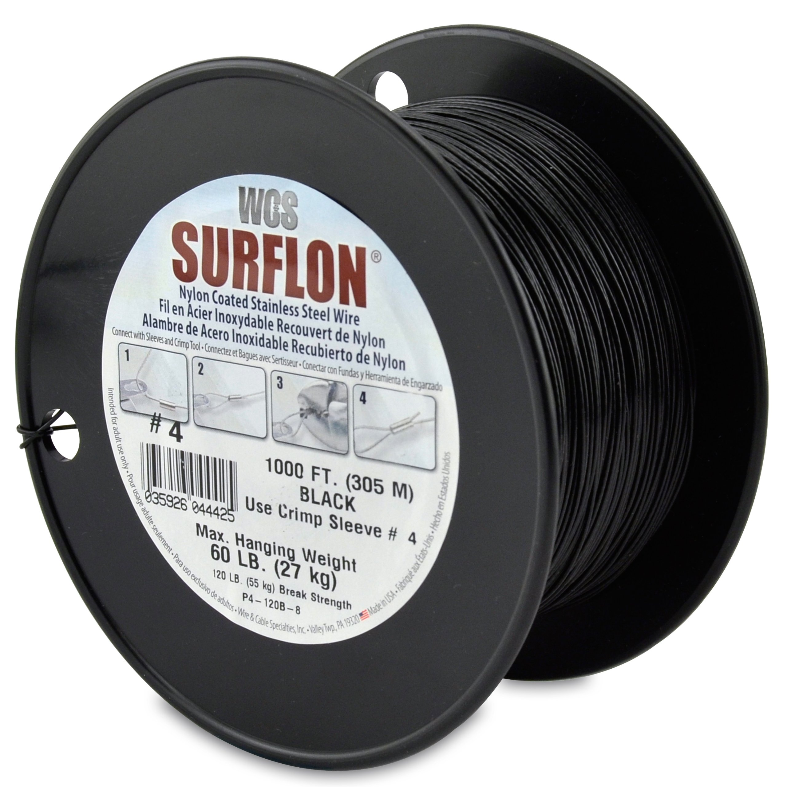 Surflon Size 4-60-Pound Break 1000-Feet Crimping Picture Wire Nylon Coated Stainless Steel, Black