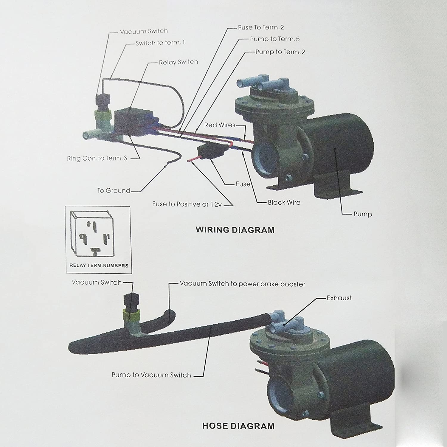 Gast Vacuum Pumps Wiring Diagram Library Motor Amazon Com Dracarys 28146 Electric Pump Kit For Brake System