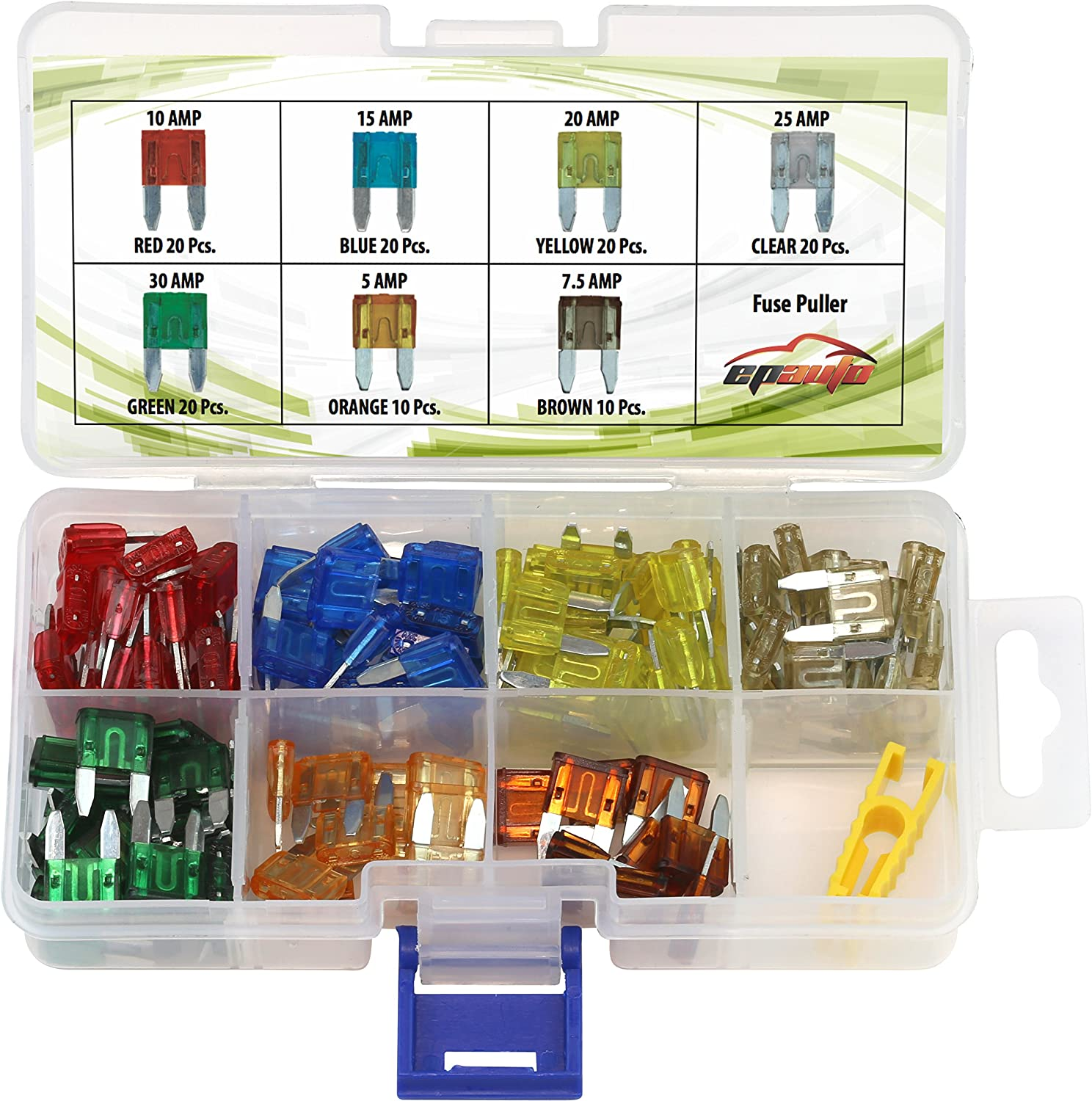 120 Pieces - EPAuto Assorted Car Truck Mini Blade Fuse Set (5/7.5/10 / 15/20 / 25/30 AMP)