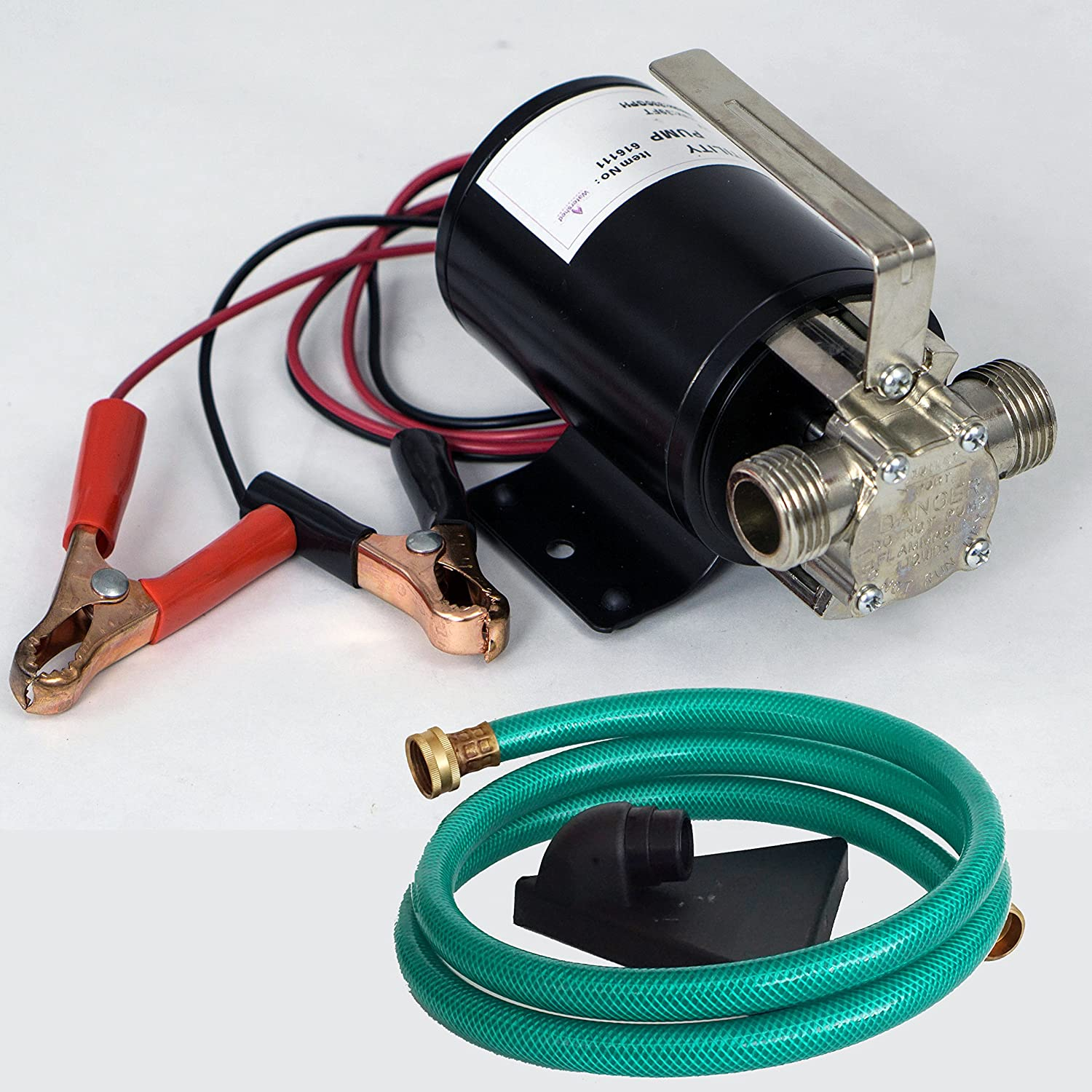 """HydraPump Mini DC - 12-volt 1/10th HP 330 GPH Battery Powered Portable Transfer Water Pump with Metal Connectors for Standard 3/4"""" Garden Hose"""