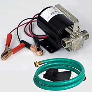 "HydraPump Mini DC - 12-volt 1/10th HP 330 GPH Battery Powered Portable Transfer Water Pump with Metal Connectors for Standard 3/4"" Garden Hose"