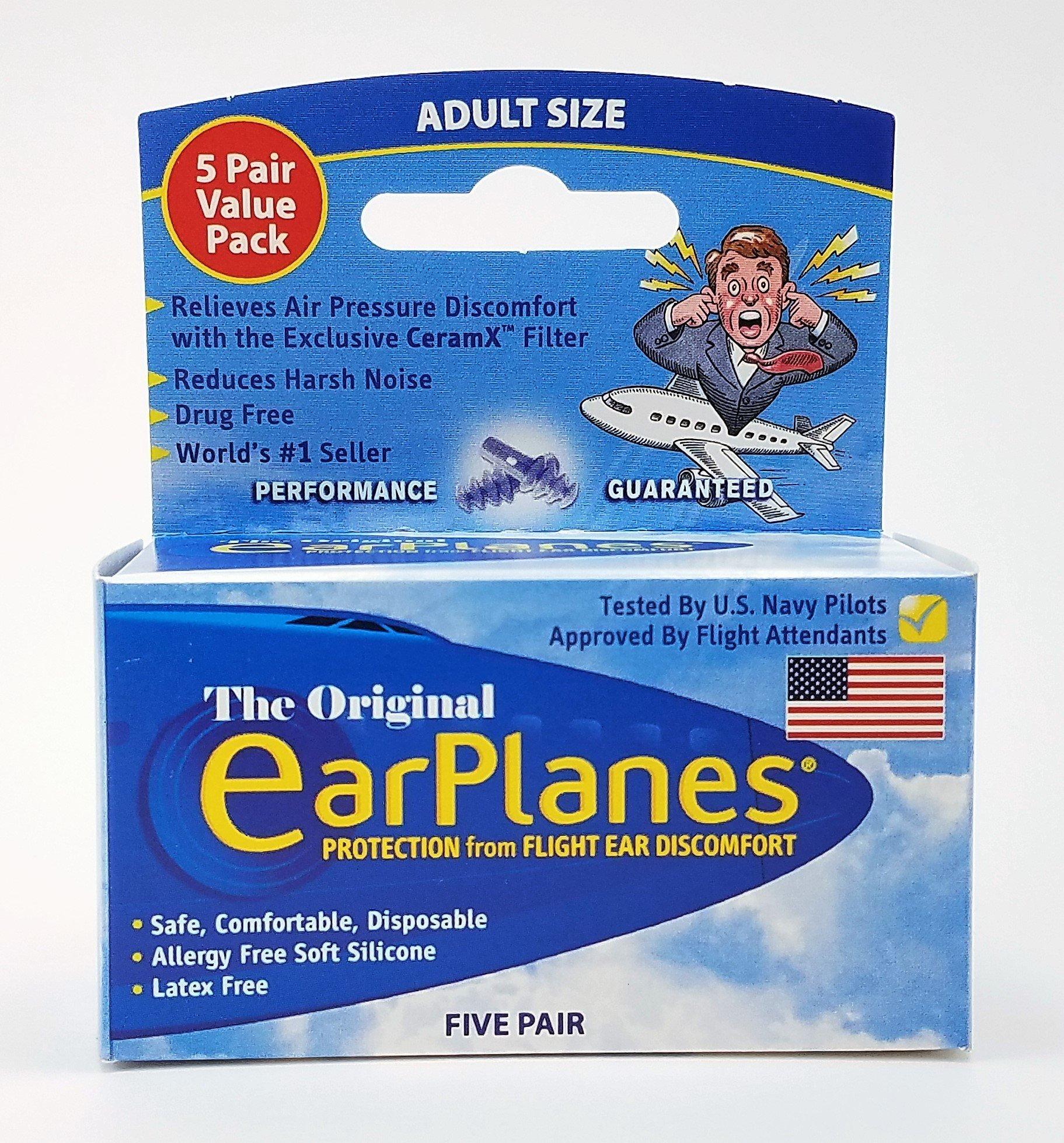 EarPlanes Ear Plugs 1 Pair (Pack of 5)