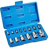"Neiko 04300A 1/4"" - 1/2"" Drive External Star/Torx Socket Set, 14 Piece | E4 - E24 | Chrome-Vanadium Steel"