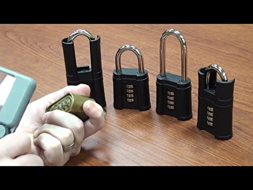a9ff04471210 FJM Security SX-975 4-Dial Shrouded Combination Padlock With Protective  Silicone Sleeve And Black Finish