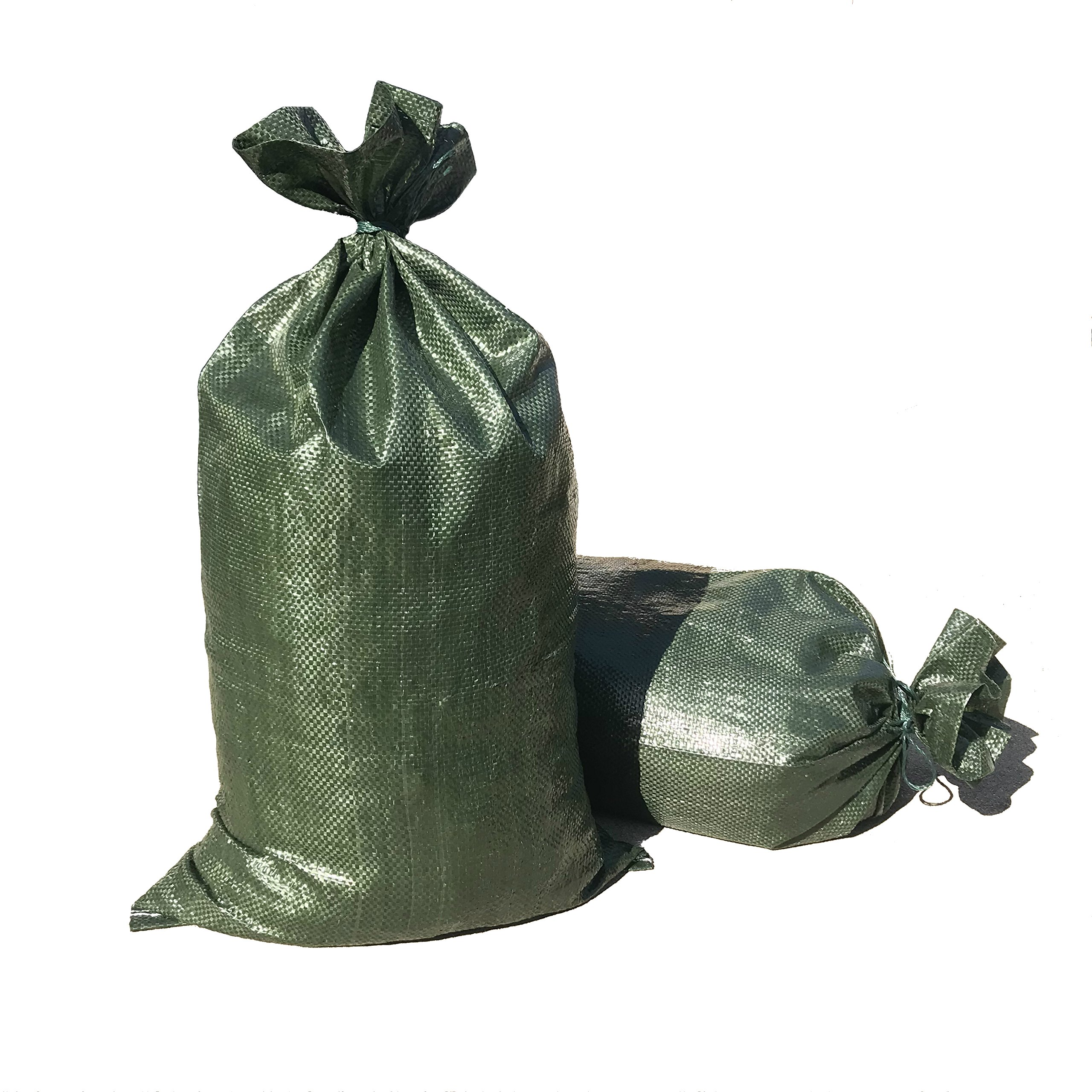 Intock Sandbags | Military Grade Empty Dark Green Woven Polypropylene Heavy Duty Sand Bags | With Strong Drawstring Closure Ties | 4000 Hrs Of UV Protection | 14'' x 26'' Size | 50 Lbs Capacity | 20 Pcs by Intock