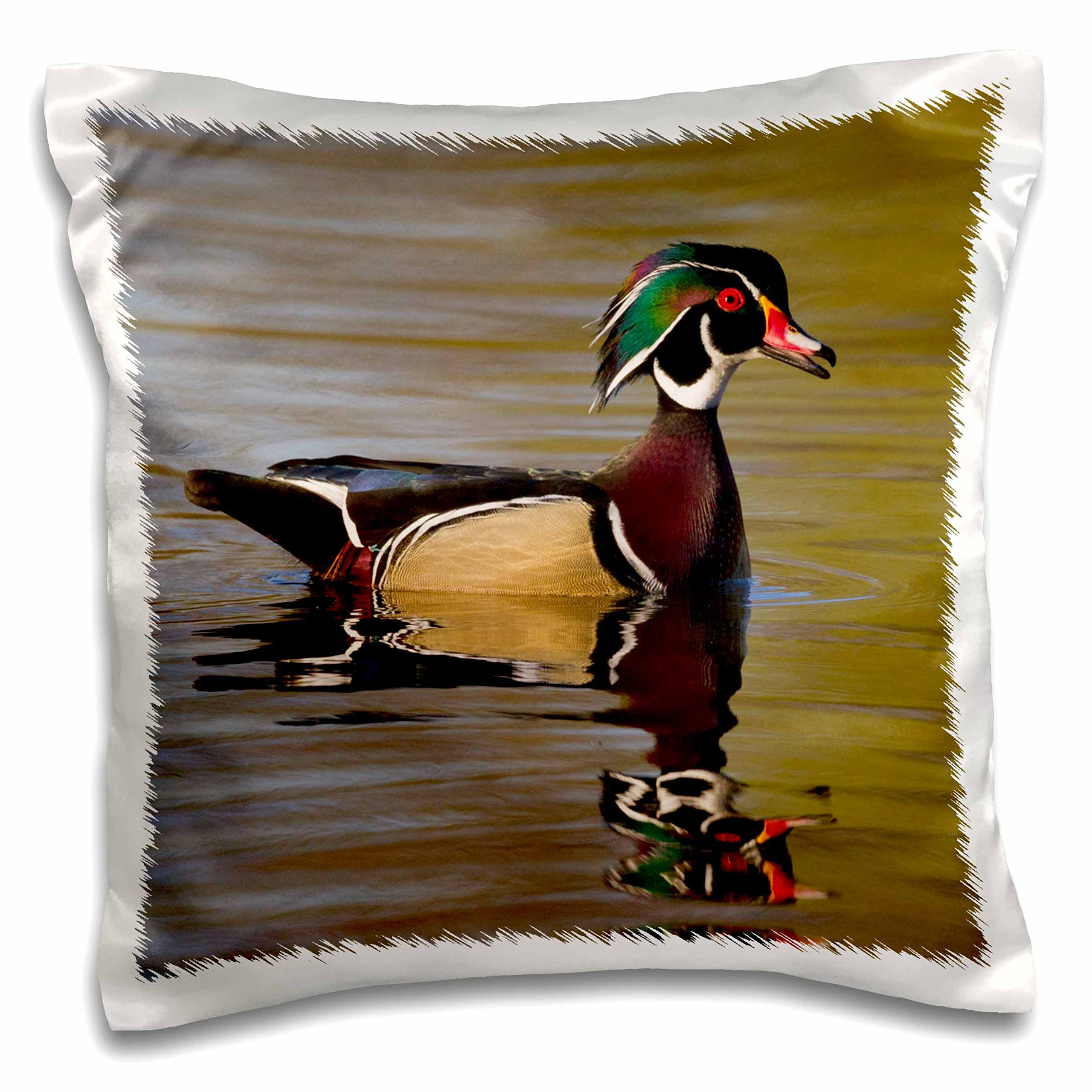 3D Rose Wood Duck Drake Pillow Case, 16'' x 16''