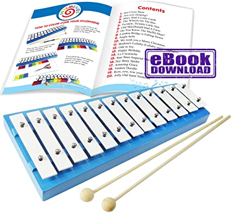 xylophone glockenspiel with 20 song music sheet e book