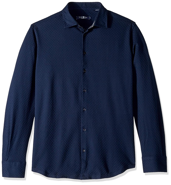 Stone Rose Mens Cotton Knit Basketweave Long Sleeve Shirt