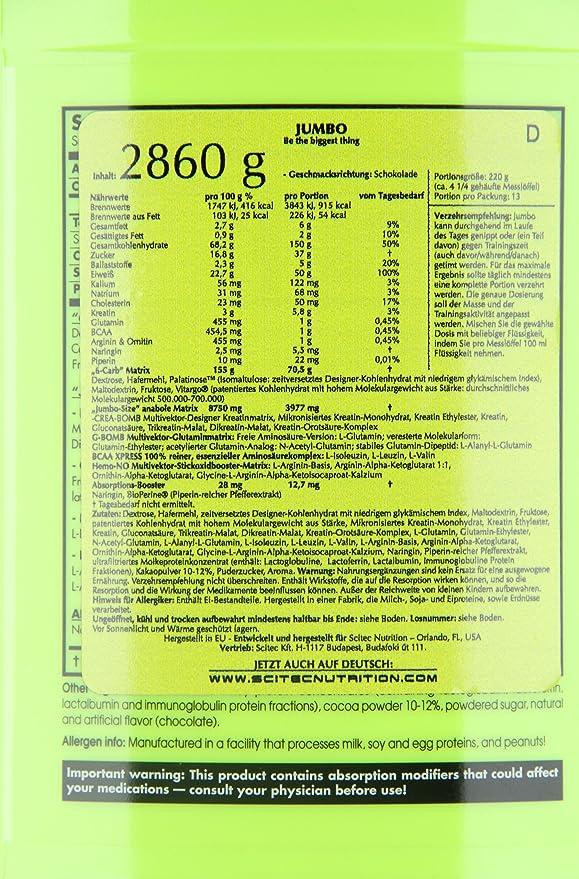 Scitec Nutrition Jumbo 2,86 kg Chocolate: Amazon.es: Salud y cuidado personal