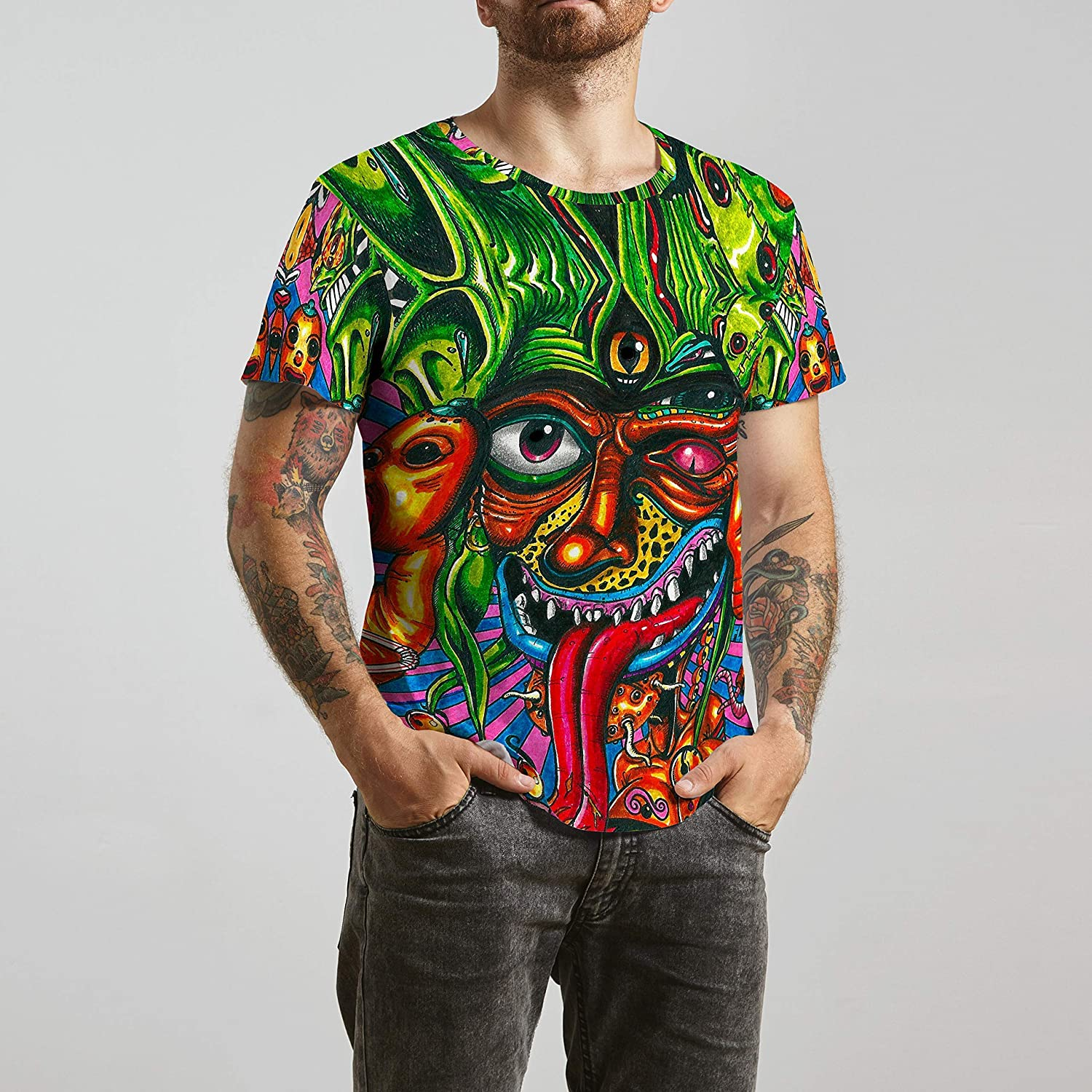 WolfCases Acid Demon T-Shirt for Festival Burning Man Cool Clothing Japanese Oni Tee for Men Unisex Large Sizes Trippy Psychedelic Design GO1169