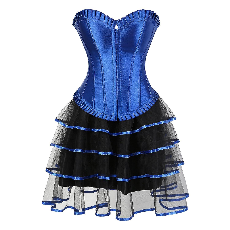 aizen Mujer Burlesque corsés y Bustiers con Falda tutú Halloween ...
