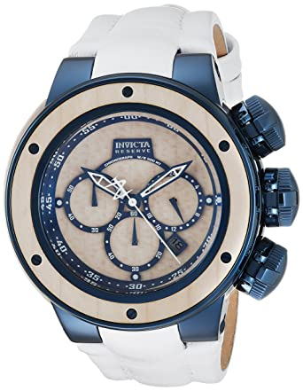 Invicta Men's 'Reserve' Quartz Stainless Steel and Leather Casual Watch,  Color:White