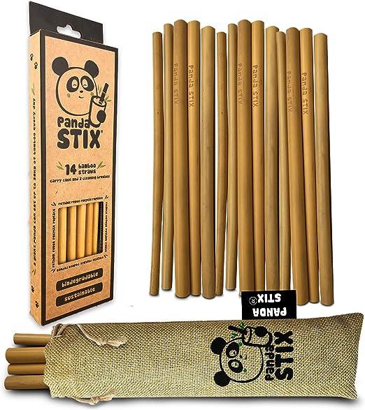 Pajitas De Bambú Reutilizables | 14 Conjunto De Paja Reutilizable ...
