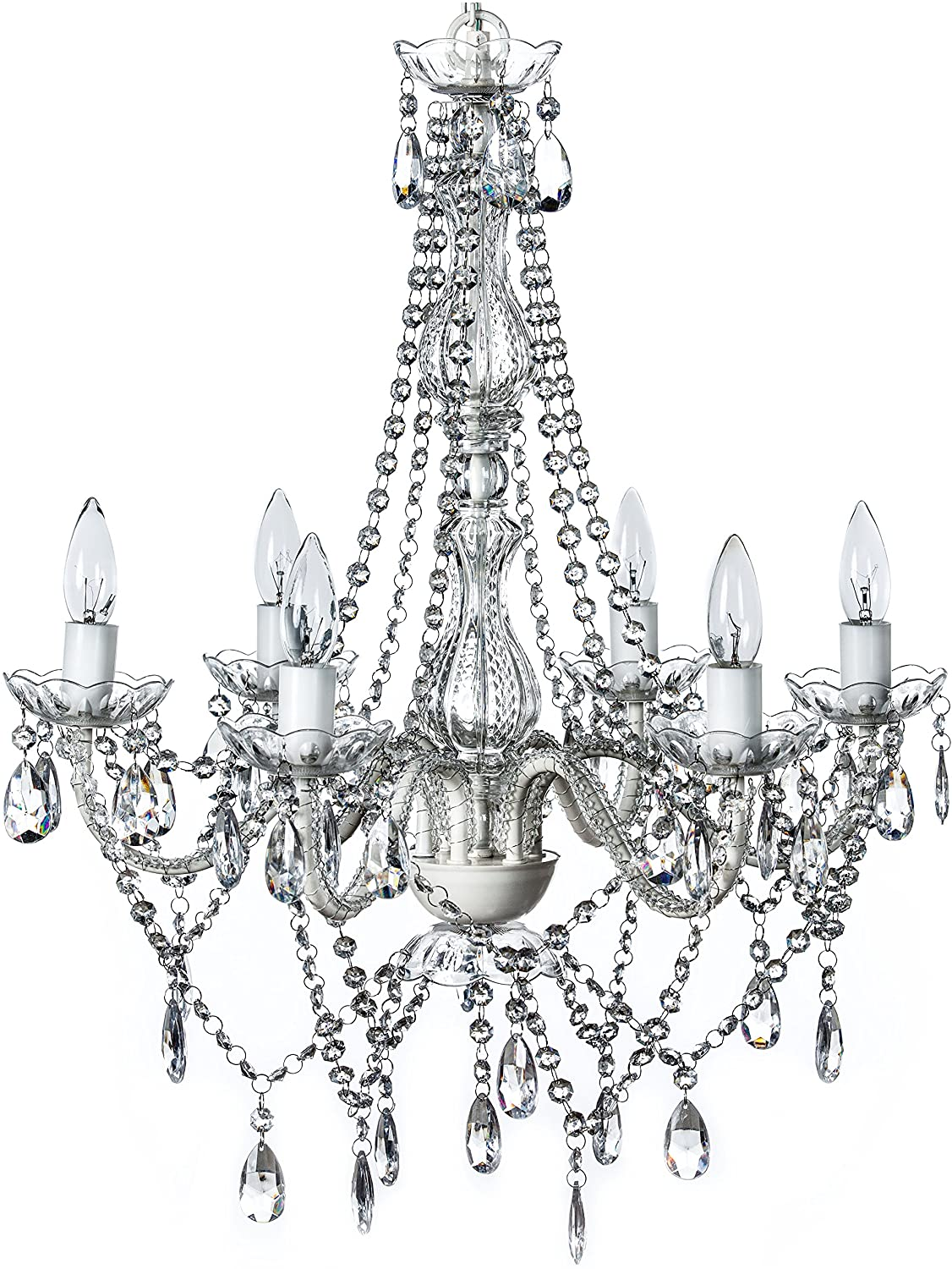 6  PRETTY PINK GLASS CHANDELIER DROPS 6 INCHES LONG