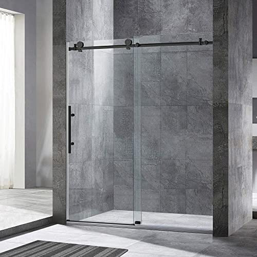 WOODBRIDGE Frameless Sliding Shower, 54 -60 Width, 76 Height, 3 8 10 mm Clear Tempered Glass, Matte Black Finish, Designed for Smooth Door Closing and Opening. MSDC6076-MBL, 60 x76 ,
