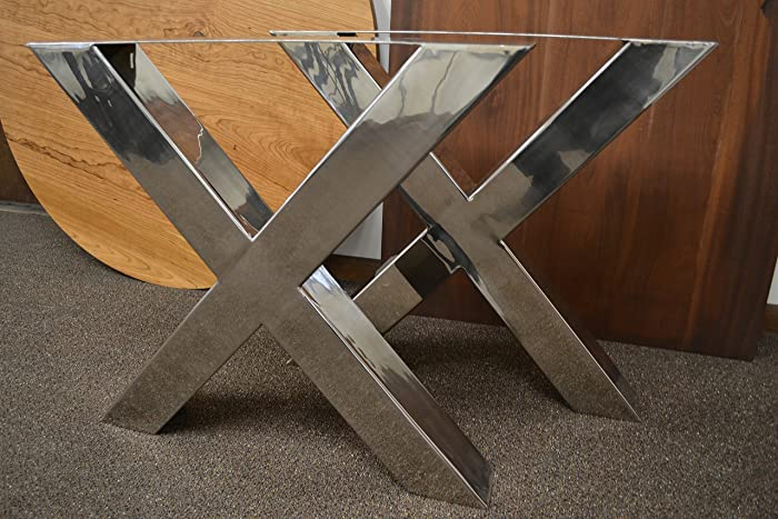 Amazon Com Polished Stainless Chrome Table Legs X Frame Style