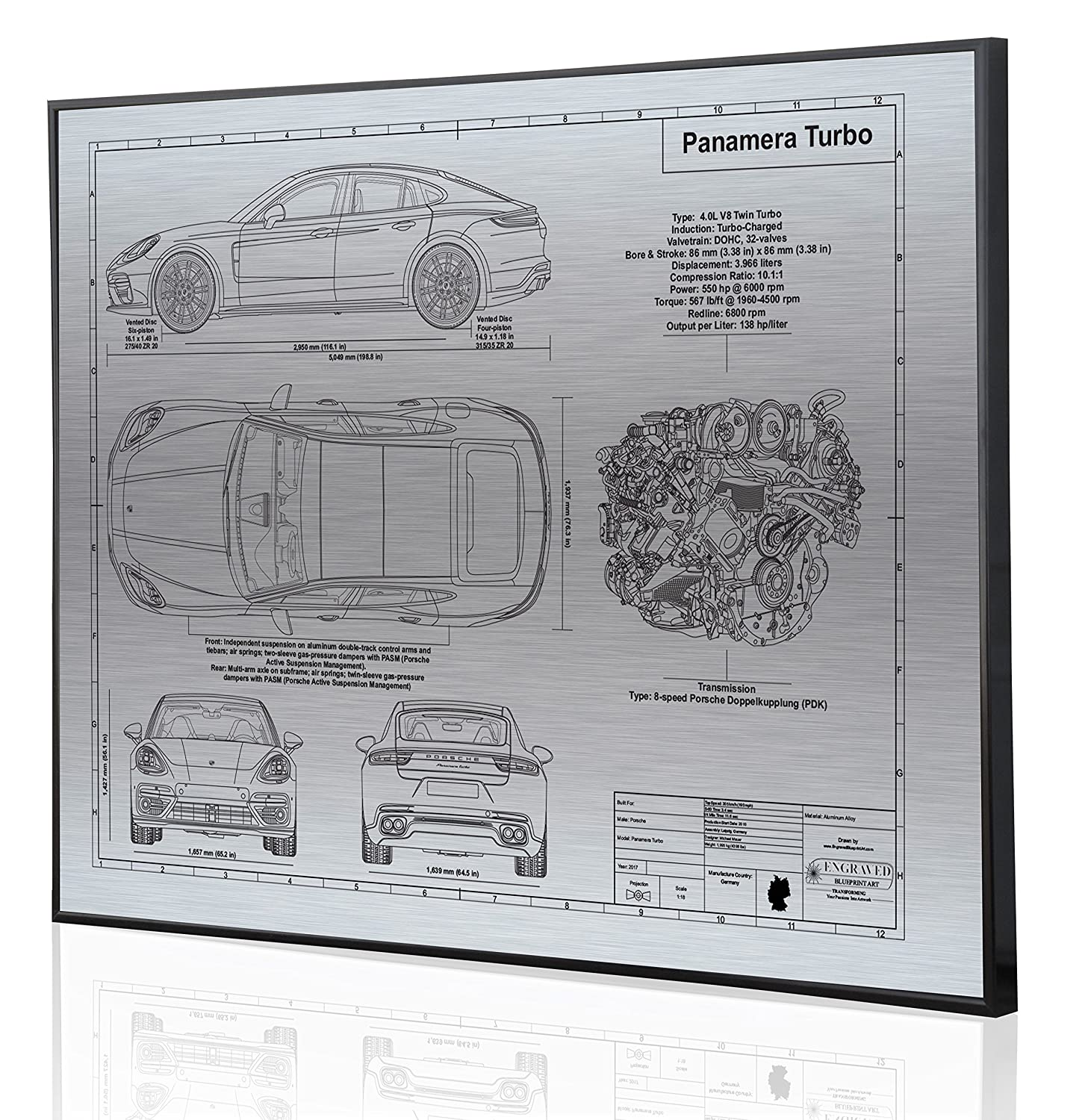 Amazon.com: Porsche 970 Panamera Turbo 2017 Blueprint Artwork-Laser Marked & Personalized-The Perfect Porsche Gifts: Handmade