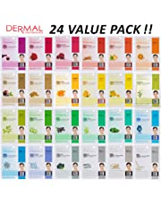 DERMAL Collagen Essence Full Face Facial Mask Sheet (Pack of 24)
