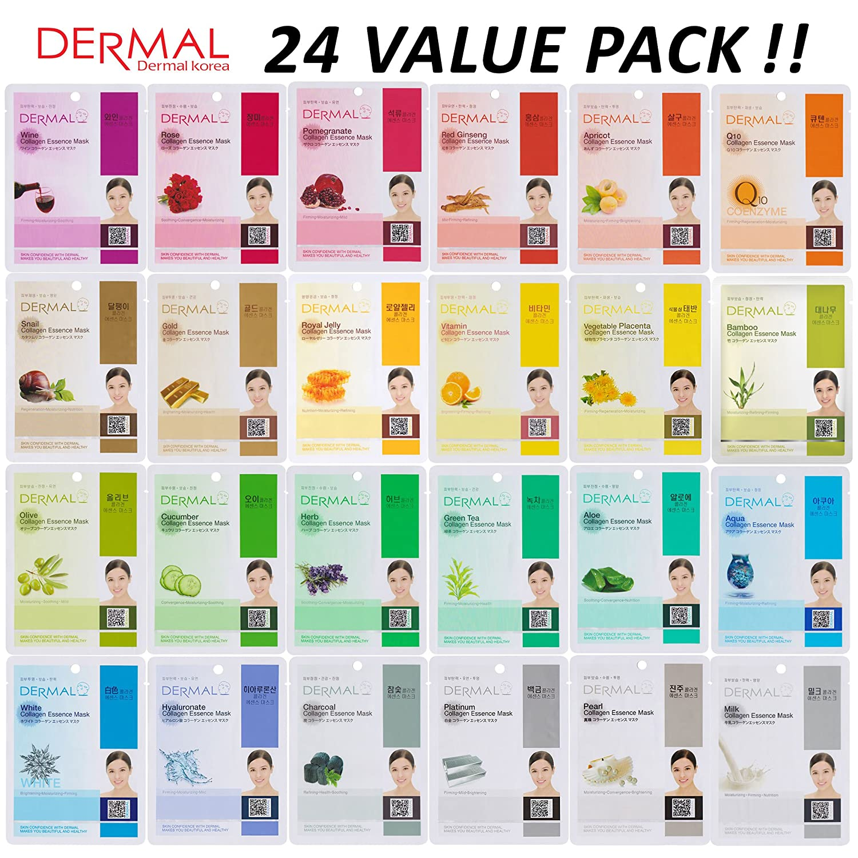 Dermal Collagen Essence Full Face Facial Mask Sheet Rorec Olive Pack Of 24 Beauty
