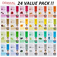Dermal Korea Collagen Essence Full Face Facial Mask Sheet, 24 Combo Value Pack