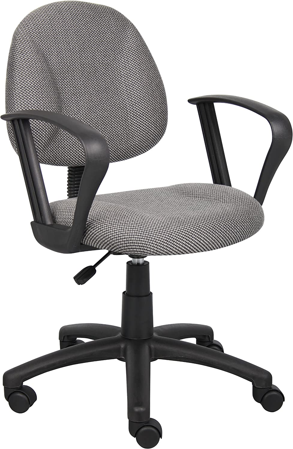 Boss Office Products Perfect Posture Delux Fabric Task Chair with Loop Arms in Grey