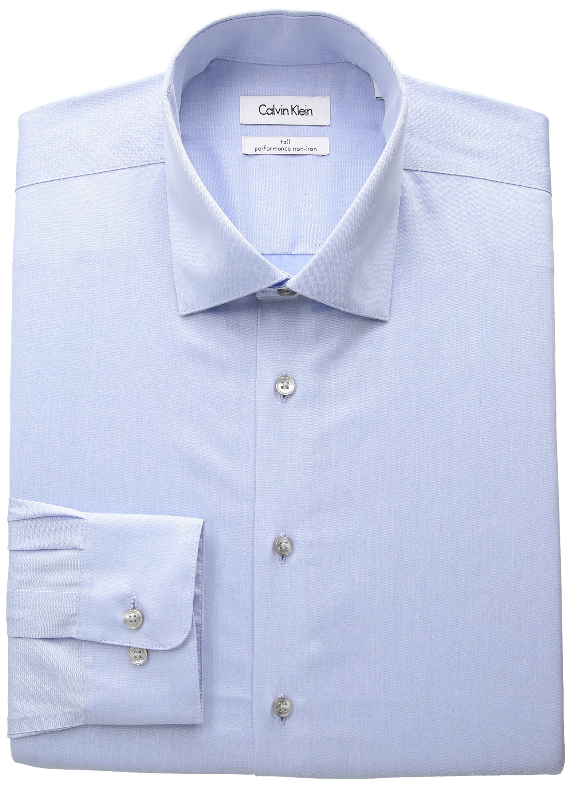 Calvin Klein Men's Big and Tall Non Iron Fit Herringbone Spread Collar Dress Shirt, Blue, 18.5'' Neck 35''-36'' Sleeve