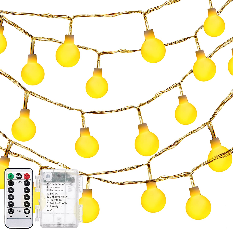 Amazon Com Decornova Globe String Lights 13 Feet 30 Leds Ball String Fairy Light With 3aa Battery Box And Remove Controller Warm White Garden Outdoor