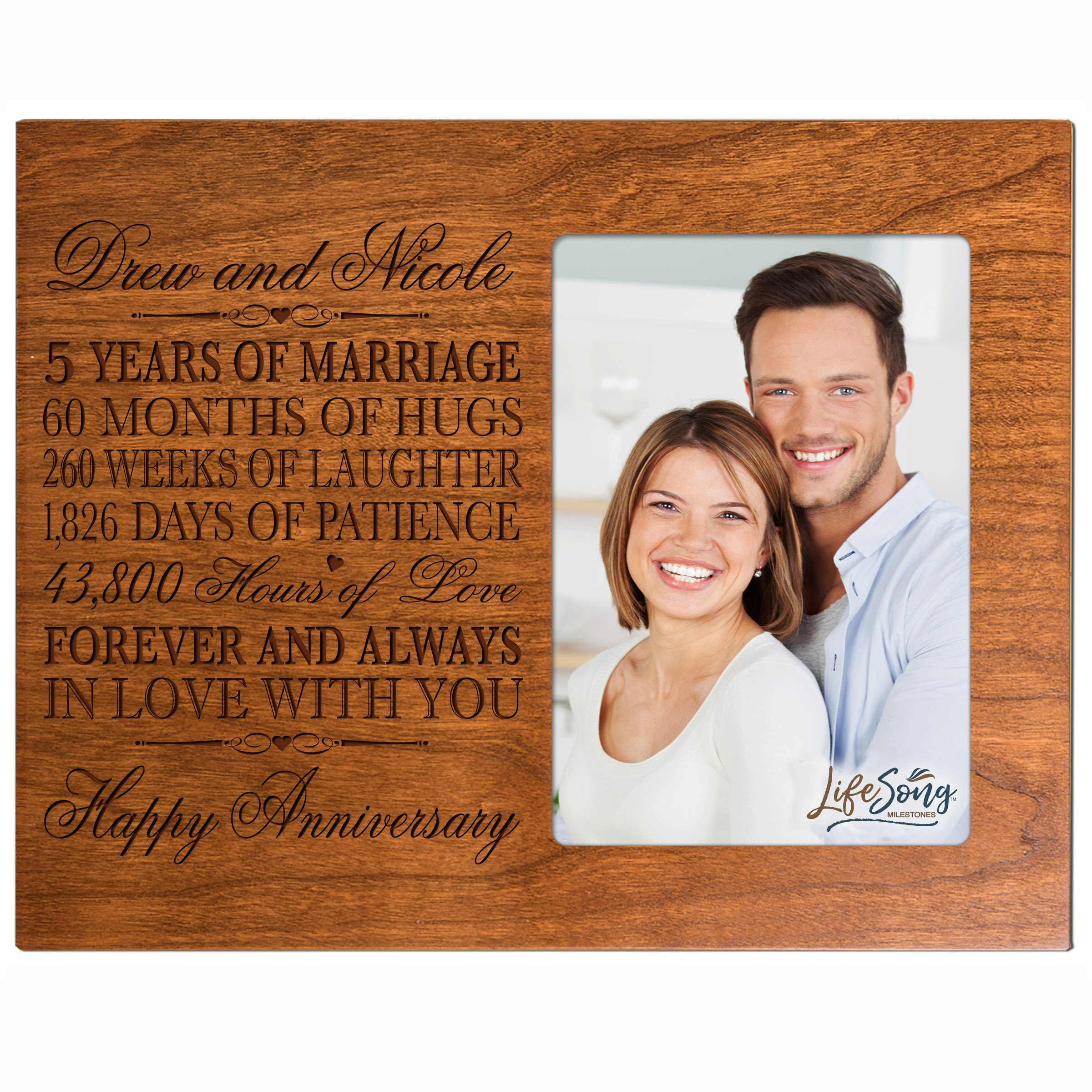 LifeSong Milestones Personalized Five Year her him Couple Custom Engraved 5th Year Wedding Celebration for Husband Wife Girlfriend Boyfriend Frame Holds 4x6 Photo (Cherry)
