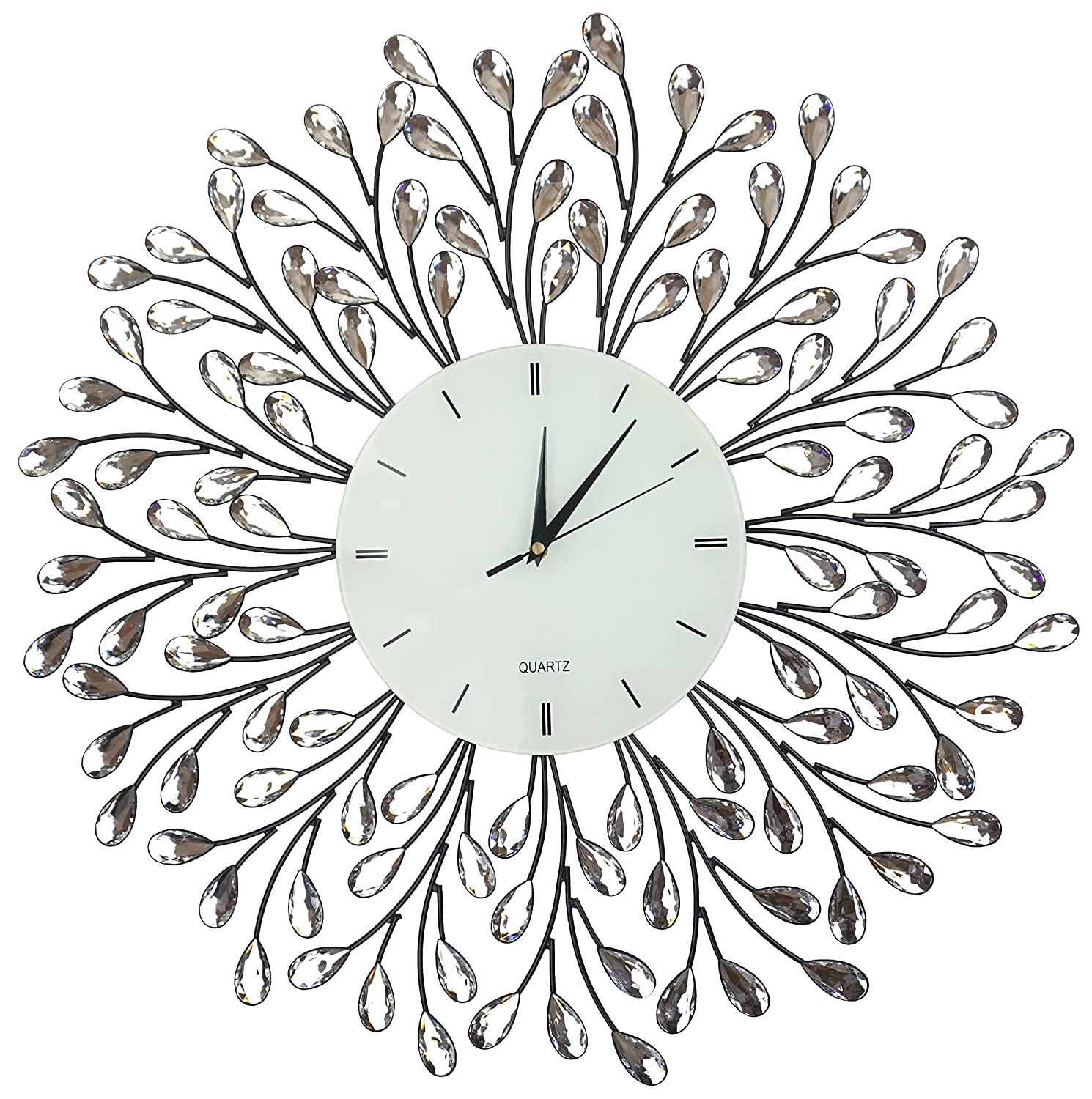 """Lulu Decor, 25"""" Vine Decorative Metal Wall Clock, White Glass Lines Dial 9.5"""", Crystal Accent Clock Living Room & Bed Room"""