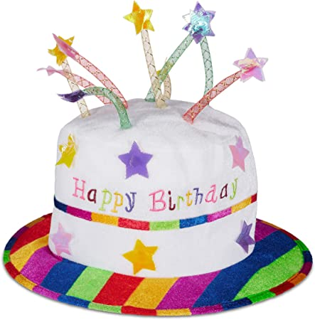 With 9 Multi Star Candle Kids Party Unisex Rainbow Happy Birthday Cake Hat
