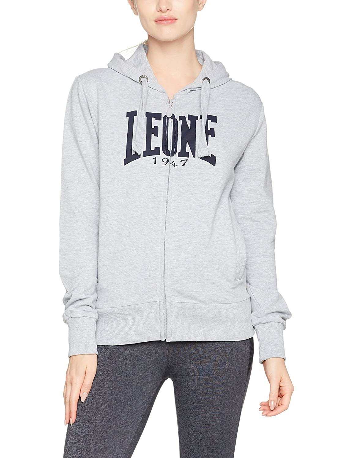 LEONE 1947 APPAREL Sport Fight Activewear Lw681, Felpa con Cappuccio E Zip Donna Banana Blue