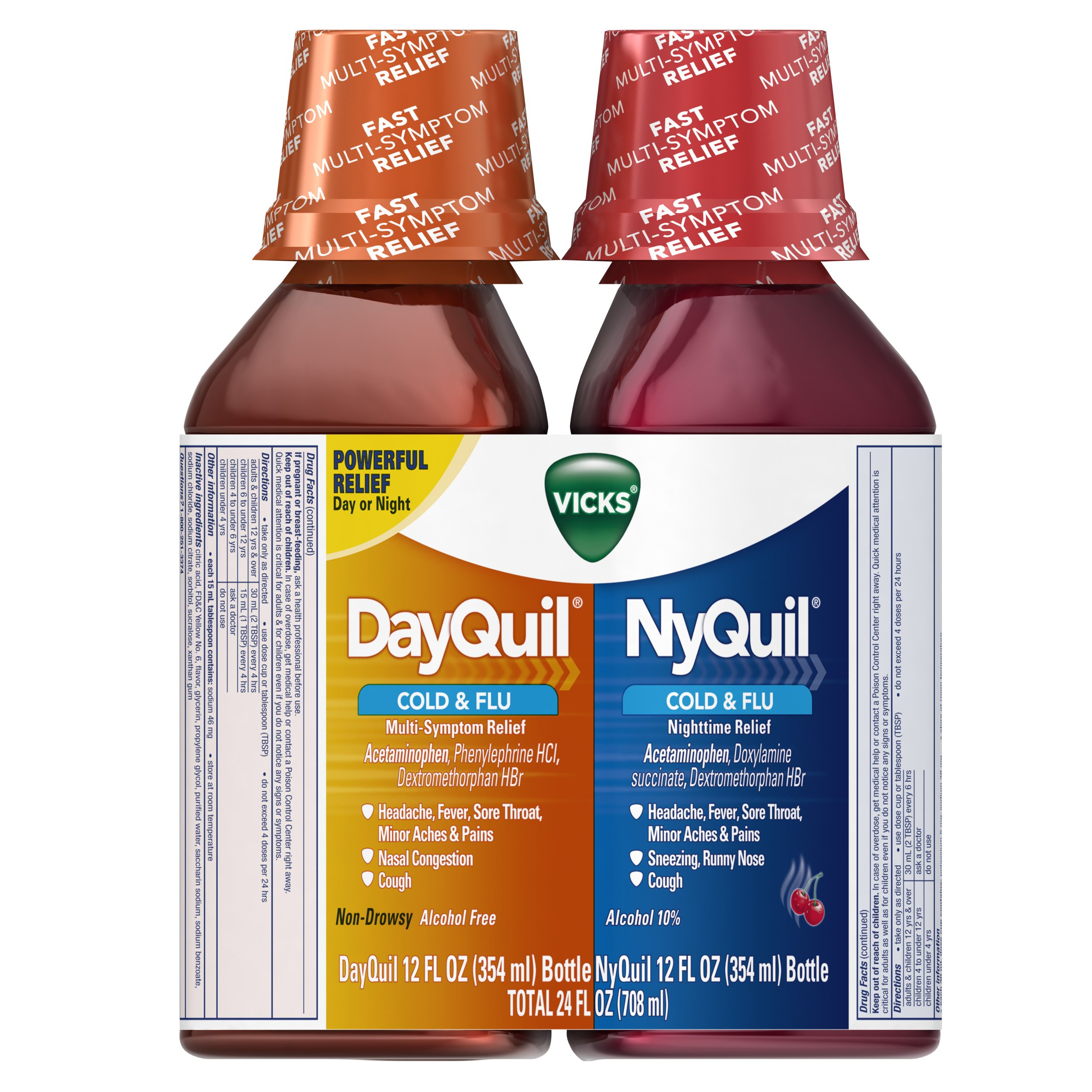 Vicks NyQuil and DayQuil Cough Cold and Flu Relief Liquid, 12 Fl Oz, pack of 2 by Vicks