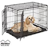 Dog Crate | Midwest ICrate 30 Inch Double Door Folding Metal Dog Crate w/Divider Panel, Floor Protecting Feet & Leak Proof Dog Tray | 30L x 19W x 21H Inches, Medium Dog Breed, Black