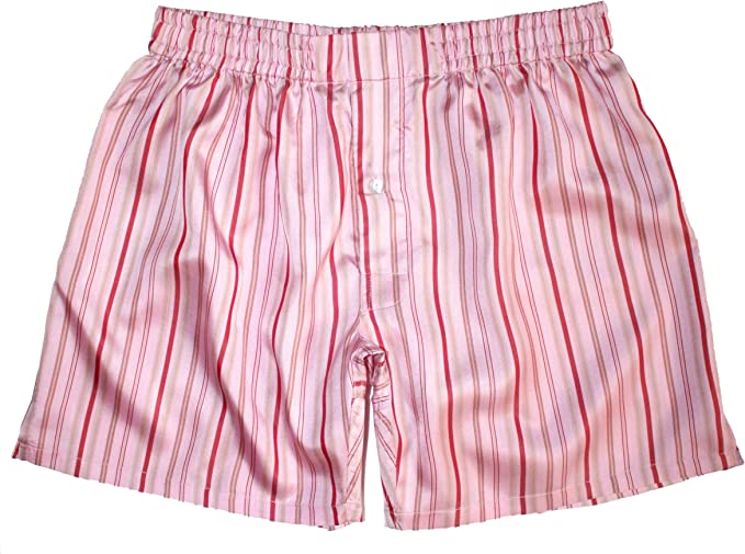 100/% Madras Silk Royal Silk Stripes Noir Silk Boxers Size XL 37-38