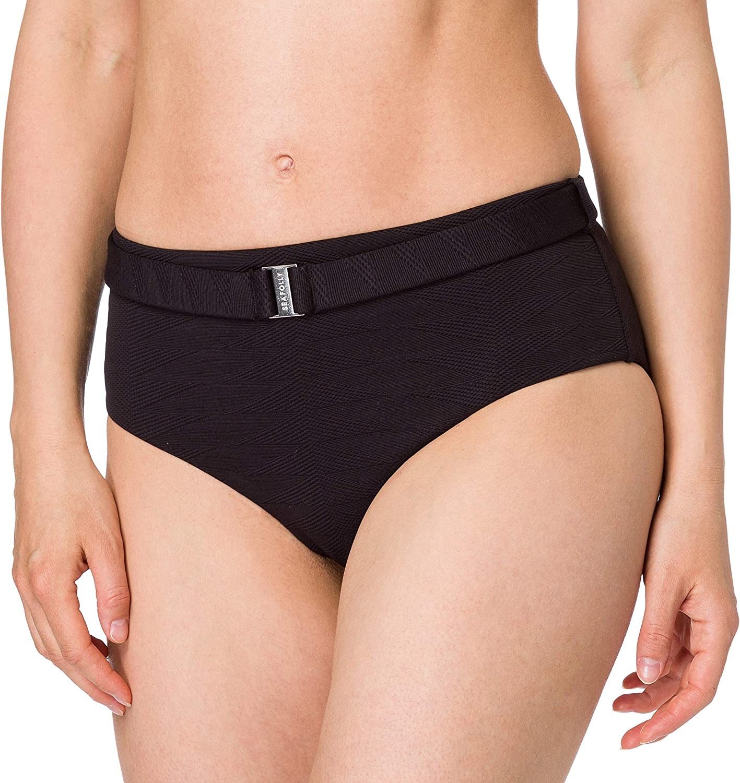 NEW Seafolly Palm Beach Wide Side Retro Pant Bikini Bottom Black Size 10