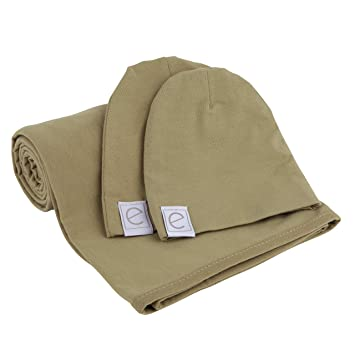 7c51baf2d Cotton Knit Jersey Swaddle Blanket and 2 Beanie Gift Set, Large Receiving  Blanket - Olive