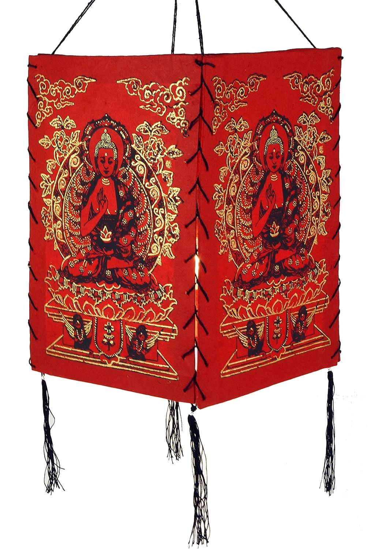 Guru-Shop Lokta Papier H/änge-Lampenschirm Papierlampenschirme Quadratisch Deckenleuchte aus Handgesch/öpftem Papier 28x18x18 cm Lokta-Papier Buddha Orange