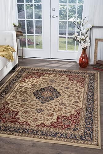 Kirsten Traditional Oriental Ivory Rectangle Area Rug, 9 x 12