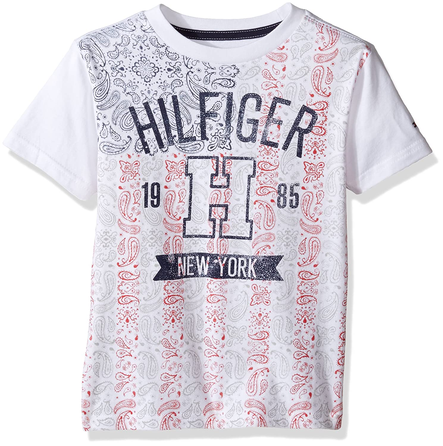 5ef7433c Amazon.com: Tommy Hilfiger Boys' Little Short Sleeve Crew Neck Flag Graphic  T-Shirt, White Medium/5: Clothing