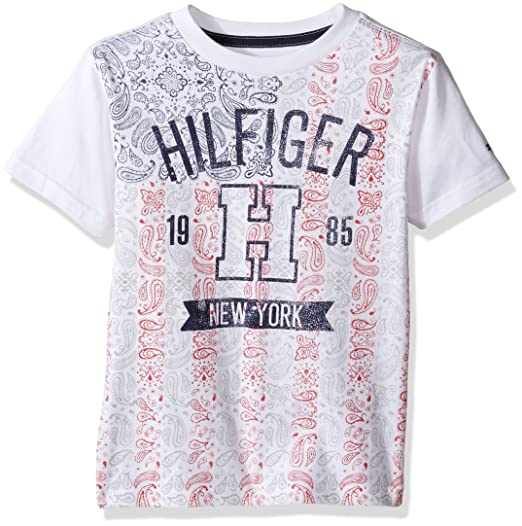 1f6b6d9f Image Unavailable. Image not available for. Color: Tommy Hilfiger Boys' Little  Short Sleeve Crew Neck Flag Graphic T-Shirt ...