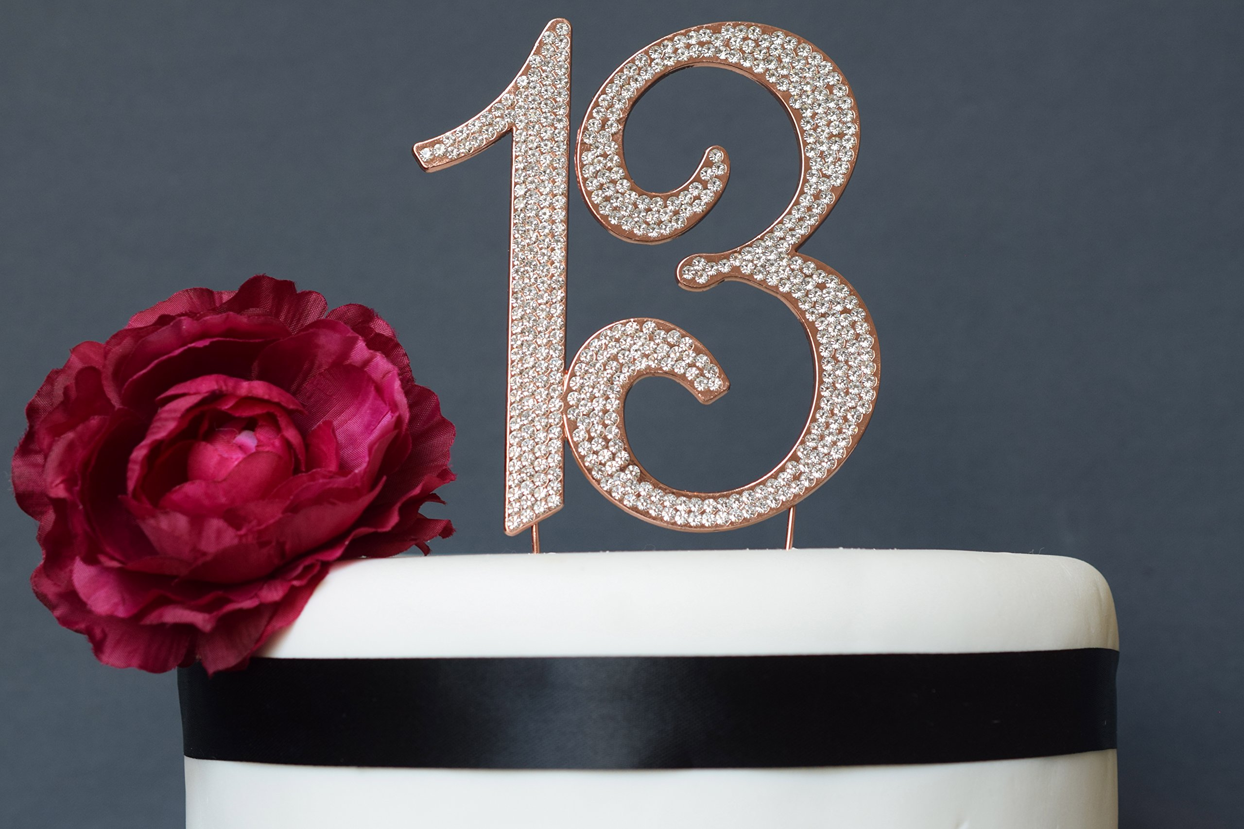 13 ROSE GOLD Cake Topper | Premium Bling Crystal Rhinestone Diamond Gems | 13th Birthday or Anniversary Party Decoration Ideas | Quality Metal Alloy | Perfect Keepsake (13 Rose) by Crystal Creations