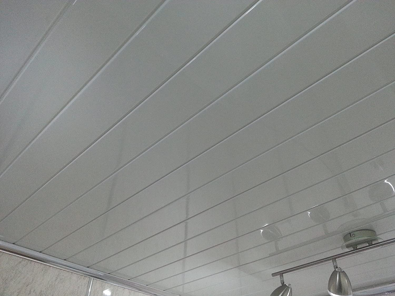 Bathroom ceiling panel - 10 Twin White Pvc Bathroom Cladding Shower Wall Ceiling Panels Amazon Co Uk Kitchen Home