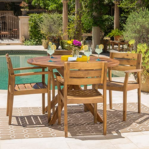 GDF Studio Stanyan | 5 Piece Outdoor Acacia Wood Dining Set | Perfect