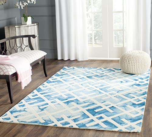 Safavieh Dip Dye Collection DDY677G Handmade Geometric Watercolor Blue and Ivory Wool Area Rug 9' x 12'