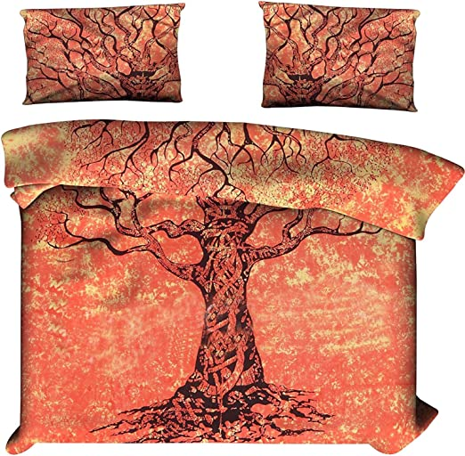 Twin Size Deep Blue Tree Of Life Indian Bedspread
