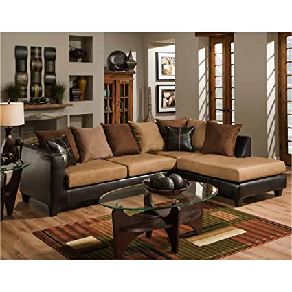 Flash Furniture Riverstone Sierra Chocolate Microfiber Sectional