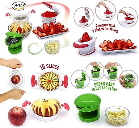 Rokj Cortador de Frutas Cortador de Manzanas Cuchillo Grande de Acero Inoxidable para Manzanas Cuter de Frutas